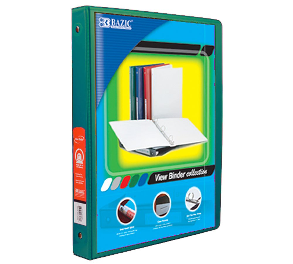 BAZIC 1/2'' Green 3-Ring View Binder w/ 2-Pockets, Case of 12  (4102-12)