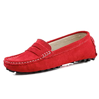 ITALY Men's Classic Slip On Penny Loafers Casual Suede Leather Moccasins Boat Shoes
