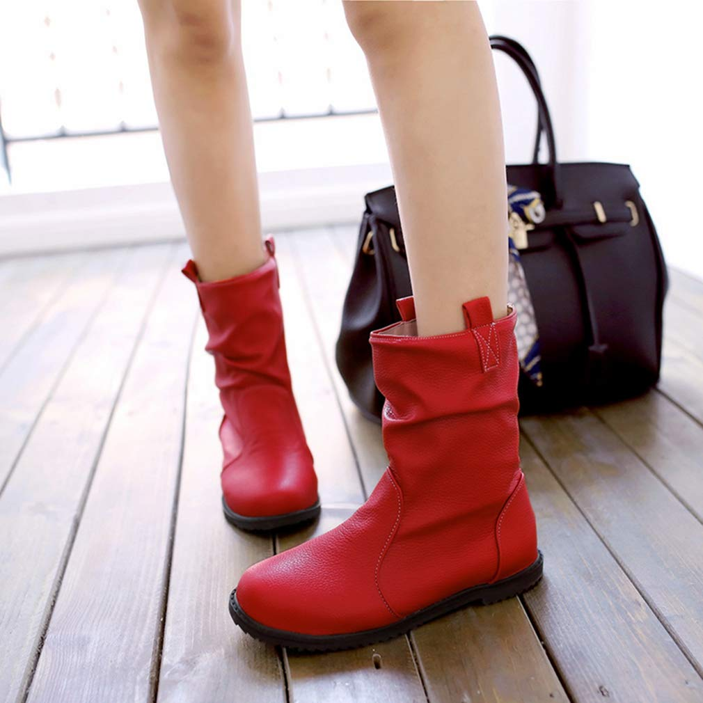 Womens Flat Western Cowboy Martin Ankle Boots Round Toe Slip-On Bootie Comfy Riding Walking Short Boot