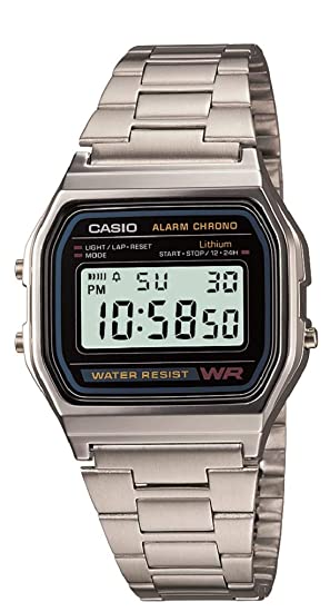 3cf20f754489 Amazon.com  Casio Men s A158WA-1DF Stainless Steel Digital Watch ...