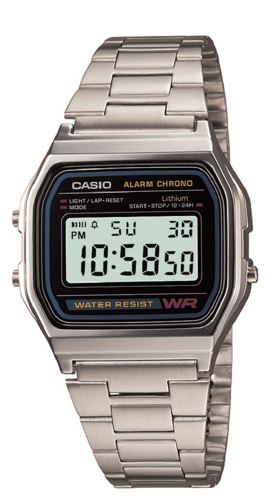 Casio Men's A158W-1 Classic Digital Stainless Steel Bracelet Watch product image