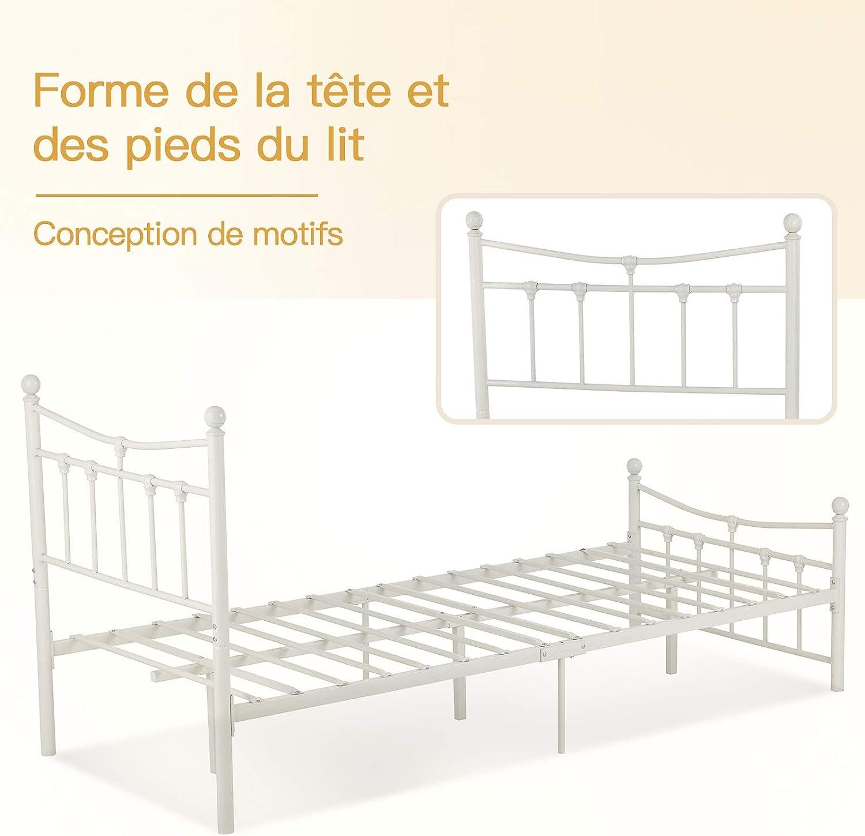 lit en Blanc Lait mecor lit en m/étal 90x200 Cadre de lit Cadre de lit avec sommier /à Lattes lit dinvit/é lit Simple Cadre de lit lit Jeunesse avec t/ête de lit Design