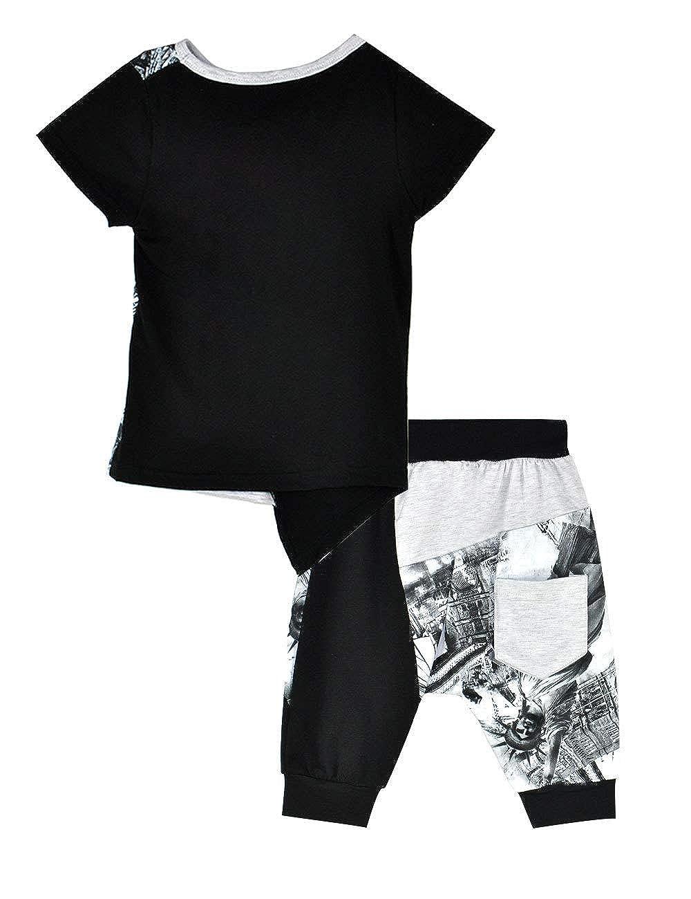 2T-7T Zernar Toddler Boys Short Set Clothing Sets Tee and Summer Clothing Sets