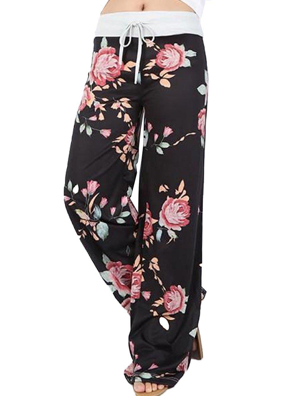 US-straight Women's Floral Print Comfy Stretch Drawstring Palazzo Wide Leg Lounge Pants (L, 0447-black)