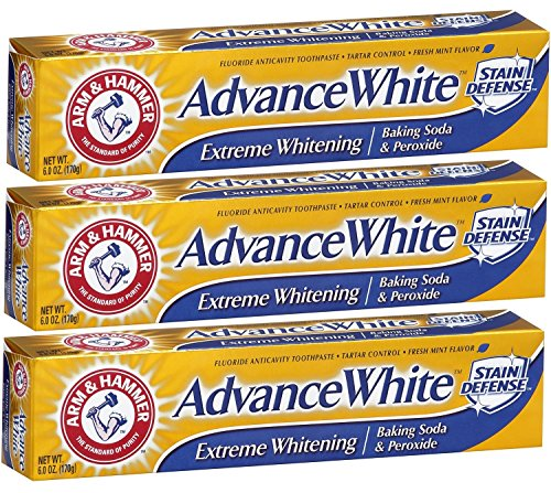 Arm & Hammer Advance White Baking Soda and Peroxide Toothpaste, Extreme Whitening, 6 Ounce (Pack of 3) (Toothpaste Soda)
