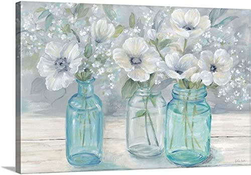 Vintage Jar Bouquet Landscape Canvas Wall Art Print