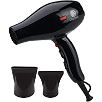 Osensia Professional Tourmaline Ionic Ceramic 1875W Blow Dryer with 2 Nozzle Attachments and Travel Bag (Black)