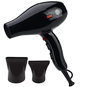 Hair Dryer - Professional Tourmaline Ionic Ceramic Blow Dryer with 2 Nozzle Attachments and Travel Bag - Negative Ions 1875W Salon Fast Drying Hair Styling Tool by Osensia