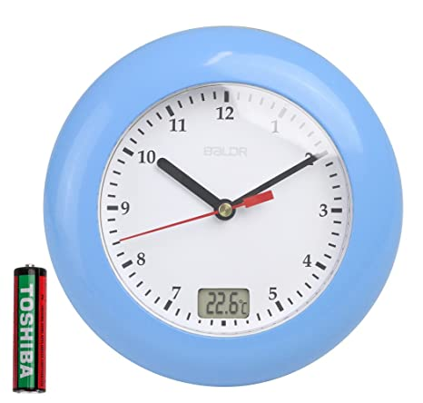 BALDR Bathroom Digital Wall Clocks, Analog Waterproof Shower Clock with Digital Temperature Display, Wall Hanging By Suction Cups (Blue)