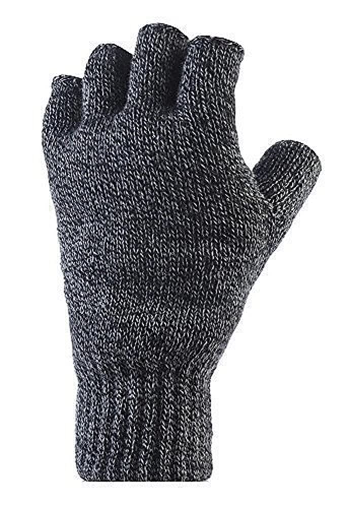 Mens Pair of Heat Holder 2.3 tog Thermal knitted FINGERLESS Gloves Charcoal Grey