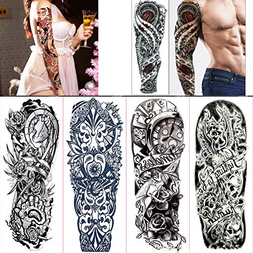 LIUHUA Flow Flower Oversized Full arm Temporary Tattoos 3D Tattoos Men's Women's Teen Fake Tattoo Sleeves Waterproof Tattoo Stickers,C,4packs ()
