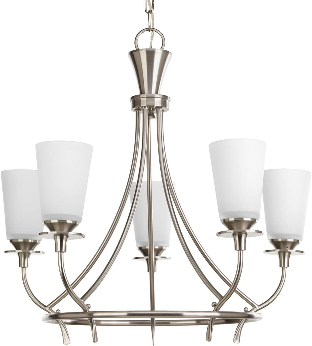 Progress Lighting P4006-09 Transitional Five Light Chandelier from Cantata Collection in Pwt, Nckl, B S, Slvr. Finish, Brushed Nickel