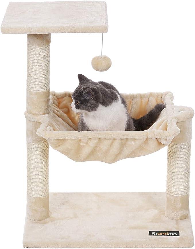 SONGMICS Compacto Árbol para Gatos Rascador con Nido Cuadrado Bola de Juego 70 cm Color Beige PCT82M: Amazon.es: Productos para mascotas