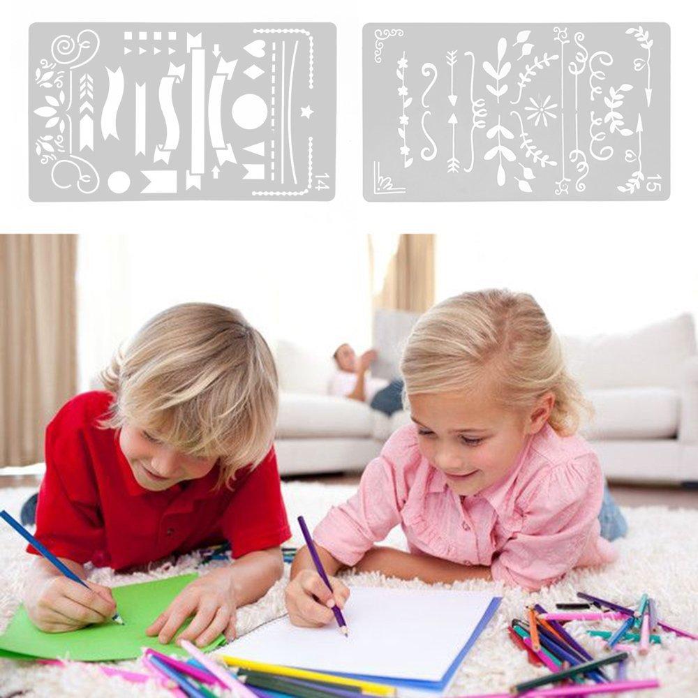 Pochoir en plastique, modèle de dessin graphique Pochoir Planner pour la peinture Artisanat Art Bullet Journal Scrap Réservation Carnet de notes Diary Card DIY-20 Pack