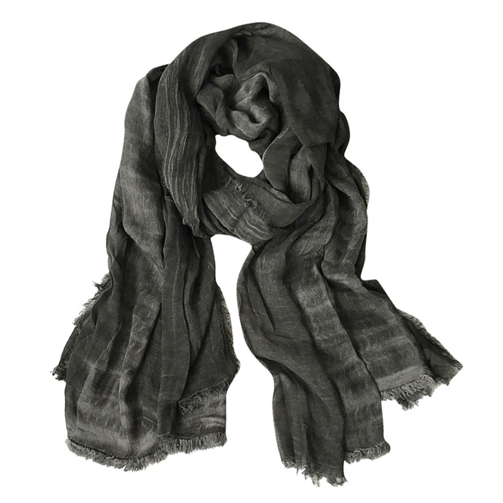 GERINLY Lightweight Men Scarves Soft Warm Crinkle Scarf (Black)