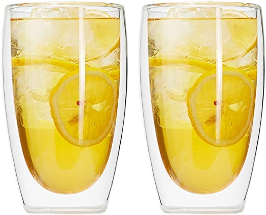 Zen Room Ultra Clear Strong Double Wall Glass 16oz Set of 6 Made of Real Borosilicate Glass Dishwasher and Microwave Safe Insulated Thermo /& Heat Resistant Design