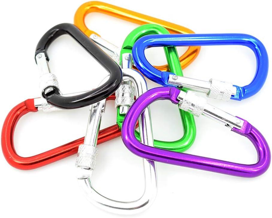 Dland Pack de 7 mosquetones Mosquetón de 3 Pulgadas de Aluminio (Plateado, púrpura, Verde, Rojo, Azul, Negro, Dorado) con Muelle de Cierre y Tornillo de Seguridad.