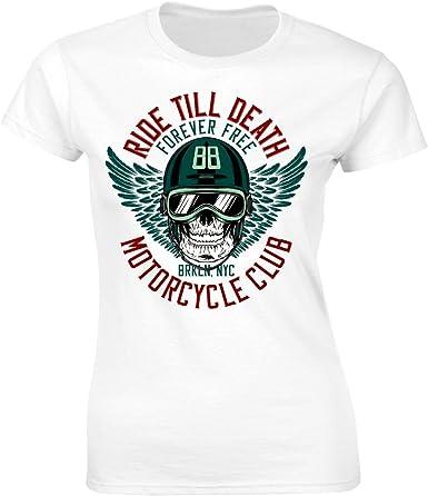 Ekate Camiseta para Mujer con diseño de Calavera en Motocross, para Moto o Bicicleta: Amazon.es: Ropa y accesorios