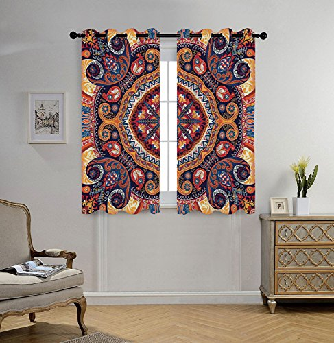 iPrint Stylish Window Curtains,Paisley Decor,Arabic Ornamental Rug Pattern Inspired Design with Flowers and Leaves,Multi Colored,2 Panel Set Window Drapes,for Living Room Bedroom Kitchen (Panel Pattern Rug)