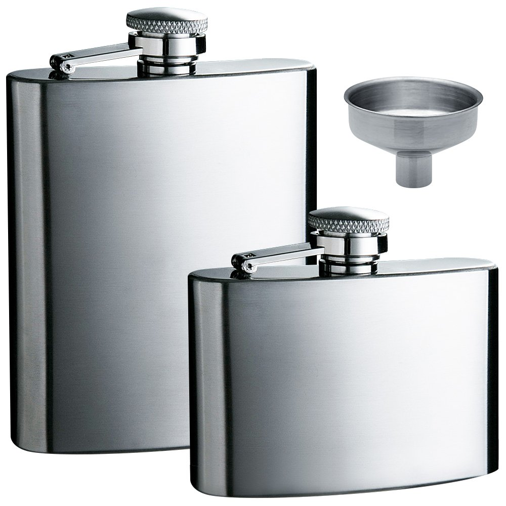 Hip Flask 5oz and 8 oz with One Handy Funnel, maxin 2 packs Stainless Steel Leak Proof Liquor Hip Flasks with Funnel for Storing Whiskey/Alcohol.