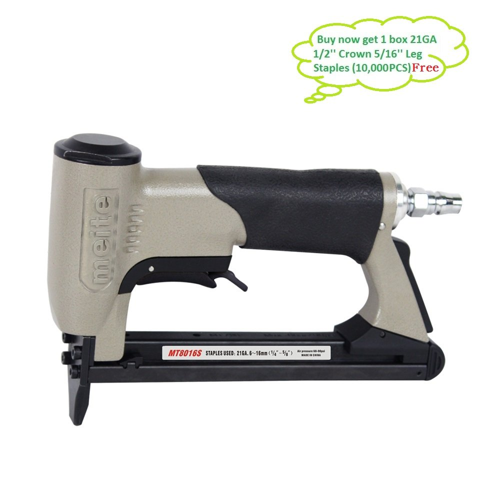 meite MT8016S Upholstery Stapler- 21 Gauge 80 Series 1/2'' CROWN Fine Wire Stapler With Safety (1/4''-5/8'' #MT8016S)