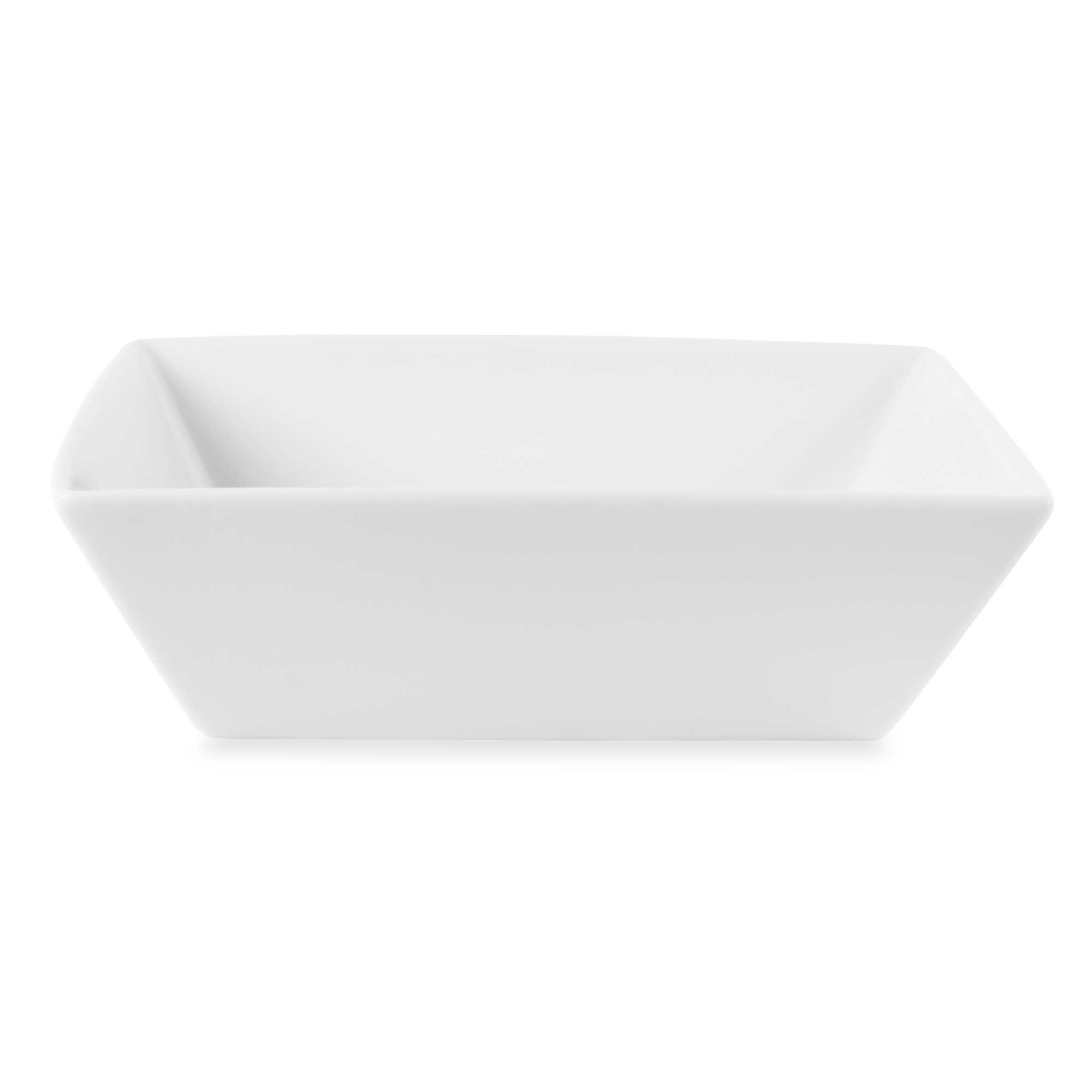 Fitz and Floyd Everyday White Porcelain Square Vegetable Bowl, Classic And Functional Dinnerware