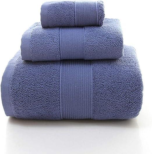 CVKL Toalla de baño Juego de Toallas Gruesas de algodón Peinado de 3 Piezas Toalla de baño para Adultos, Azul, Juego de Toallas de 3 Piezas: Amazon.es: Hogar
