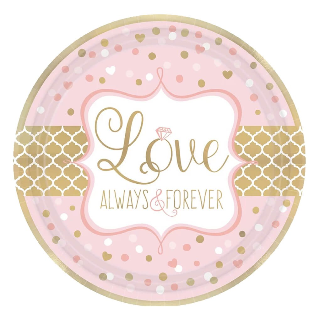 Love Always and Forever Metallic Paper Plates and Napkins for Bridal Shower or Anniversary, 16 Settings, Bundle- 3 Items by Designware (Image #2)