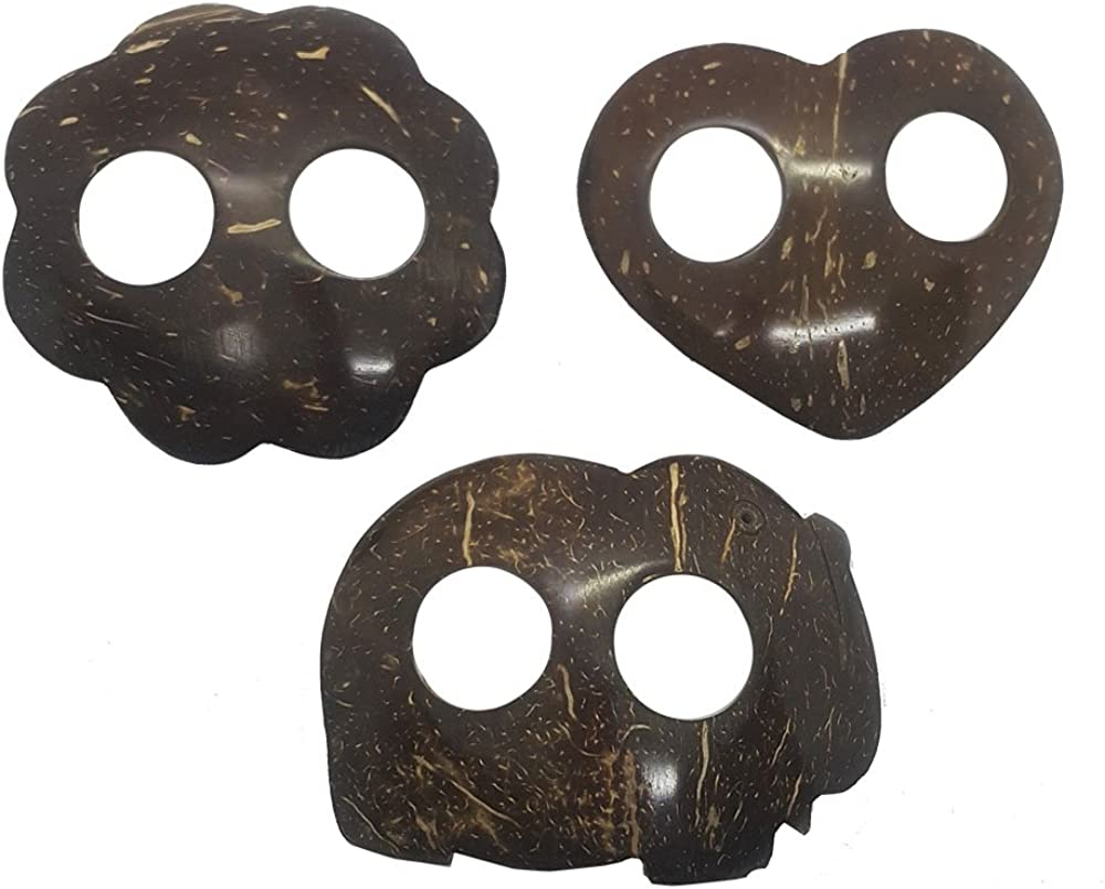 "TG888Warehouse Clip Belt Handicraft Coconut Shell Buckle Fabric Tie Scarf Sarong Batik Beach Skirt Set of 3 Pieces, Nature Wood, 2.5"" x 3"""