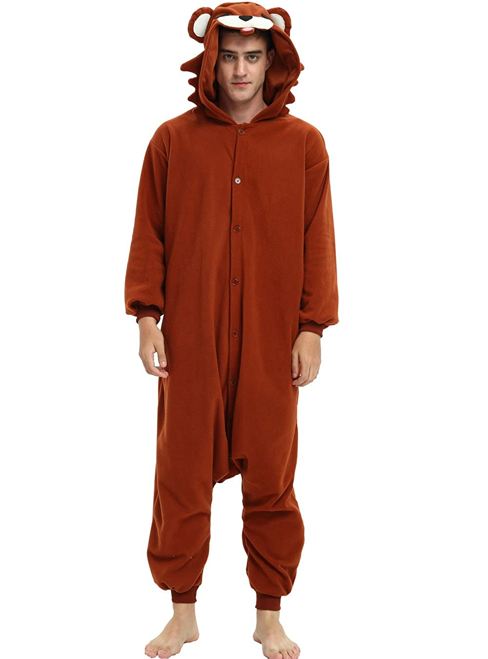 Amazon.com: Es Unico Pedobear Onesie for Adult and Teens, Halloween Brown Bear Costume: Clothing