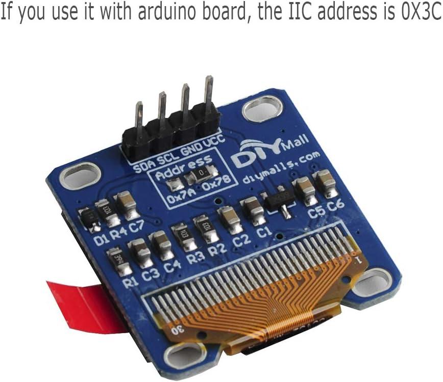 "DIYmall 0.96/"" Yellow/& Blue 128X64 OLED I2C IIC Serial LCD LED Display Module"