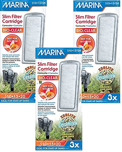 (3 Pack) Marina Slim Filter Zeolite Plus Ceramic Cartridge, 3 Cartridges each - Pets Bio 3 Cartridge