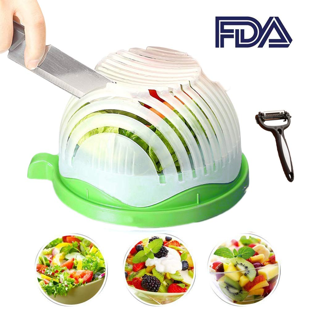 Salad Cutter Bowl 60 Seconds Easy Fresh Salad Cutter and Fast Fruit Vegetable Chopper Salad Maker by Accdata [Bonus Multi-Function Paring Knife] by Accdata (Image #1)