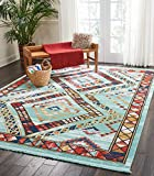 "Nourison Tribal Decor TRL02 Traditional Colorful Aqua Area Rug 7 Feet 10 Inches by 10 Feet 9 Inches, 7'10"" X10'9"