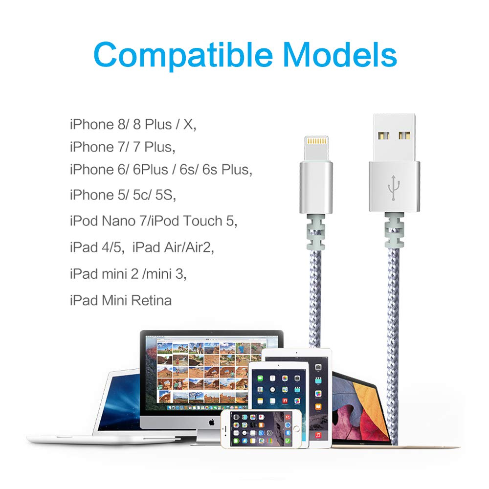 Chargers, Moallia 3-Pack 6-Feet Extra Long Charging Cable Durable Fast Charging Data Sync Cord Compatible with iPhone X, iPhone 8, iPhone 7, iPhone 6, iPhone 5, iPad Mini & More(White) by Moallia (Image #7)