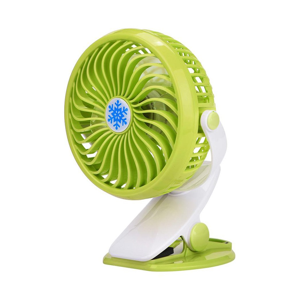 Inkach Clip On Mini Desk Fan Portable Handheld Fans with Rechargeable Battery(Included)/USB Powered Operated Table Fan (Green)