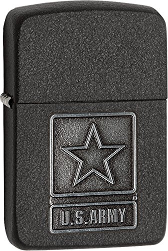 Personalized Message Engraved Customized US Army Black Crackle Emblem Zippo Indoor Outdoor Windproof Lighter ()