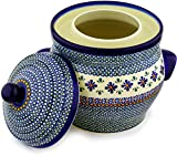 Polish Pottery Fermenting Crock Pot with Water Seal (1 Gallon) Gingham Flowers