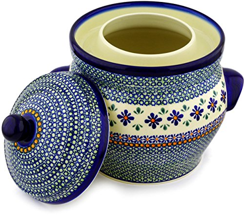 Polish Pottery Fermenting Crock Pot with Water Seal (1 Gallon) Gingham Flowers by Polmedia Polish Pottery