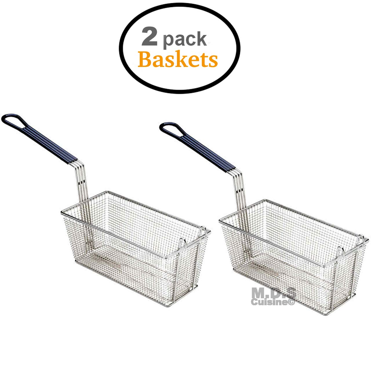 Baskets Frying 2 Deep Fryer Commercial Heavy Duty Stainless Steel Wired 13''L x 6.5''W x 6''H