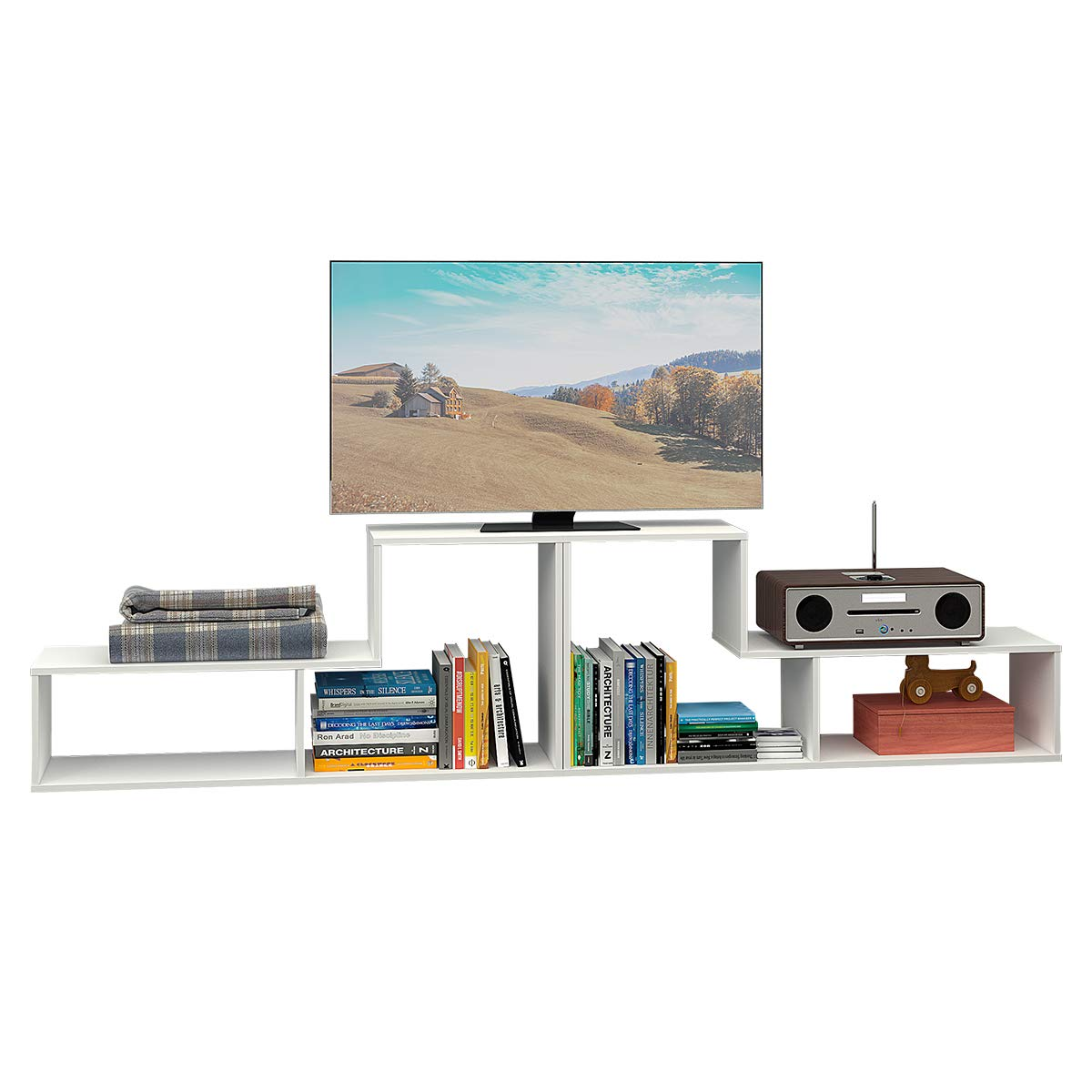 DEVAISE Wood TV Stand Storage Console,L shaped Bookcase/Bookshelf in White, 0.6'' Thickness