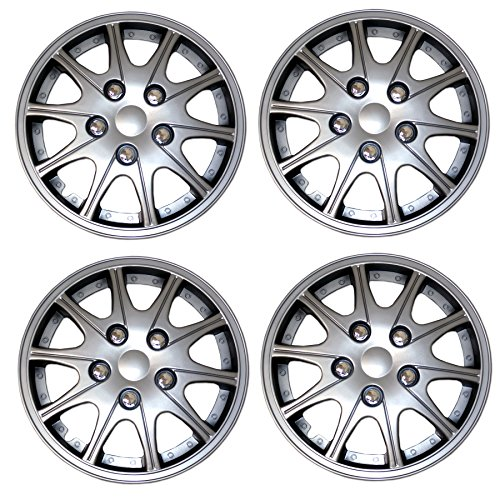 TuningPros WSC3-005S14 4pcs Set Snap-On Type (Pop-On) 14-Inches Metallic Silver Hubcaps Wheel Cover - S10 Hubcap
