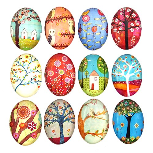 12pcs Beautiful Glass Refrigerator Magnets Oval Fridge stickers Funny for Office Cabinets Whiteboards Tree Decorative Photo Abstract (12 Elliptical tree)