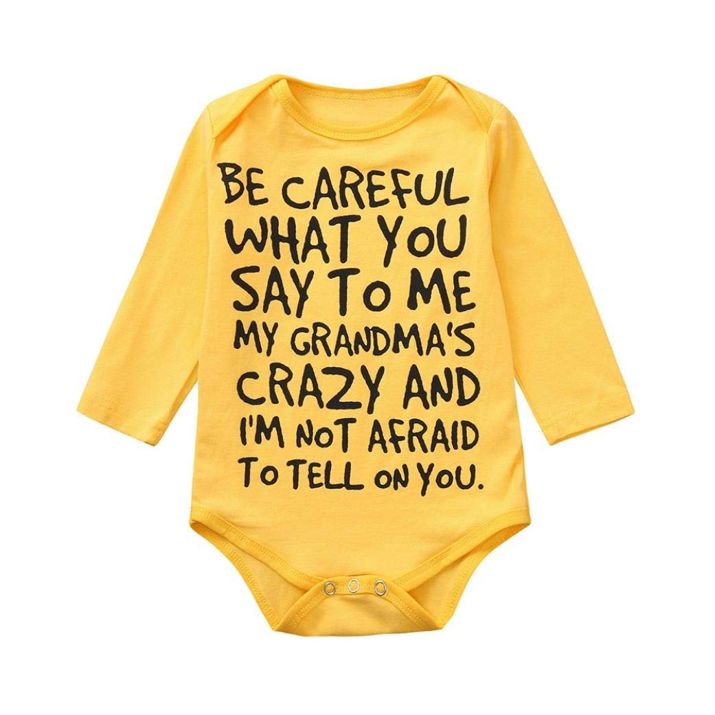 Toddler Baby Girls Boys Cotton Romper Letter Print Soft Bodysuit Jumpsuit Outfits Casual Sunsuit One-Pieces Pajama (Yellow, 18-24 Months)
