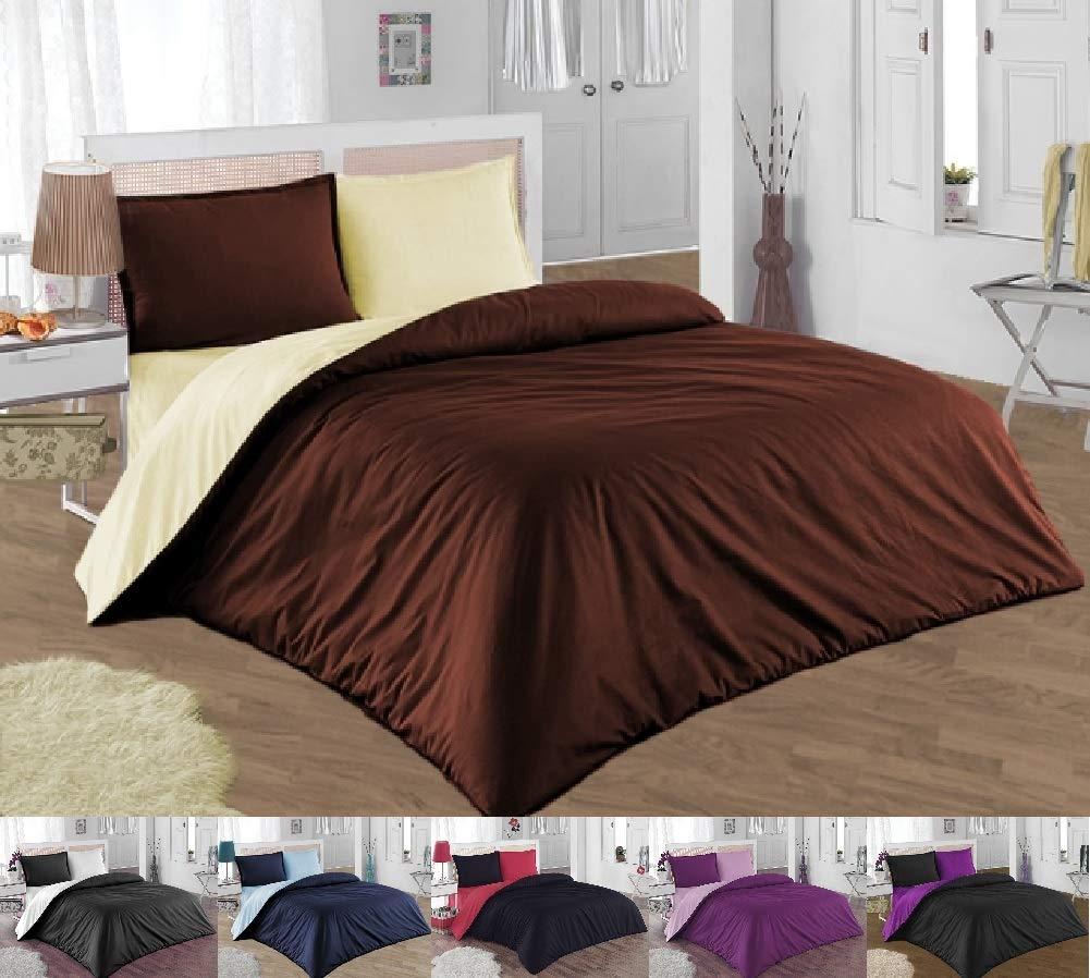 GH Homeshop Premium 2-3 TLG Renforce Bettwäsche 100% Baumwolle mit Reißverschluss in Verschiedenen Größen (Beige & Braun, 155 x 200 cm)
