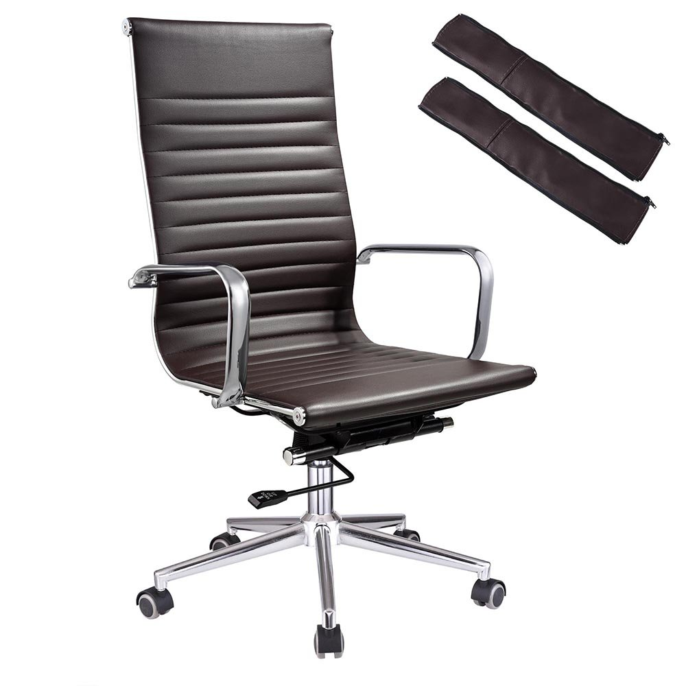 contemporary leather high office chair black. Amazon.com: Yescom Executive High Back Ribbed PU Leather Swivel Office Computer Desk Chair Brown XL: Kitchen \u0026 Dining Contemporary Black Y
