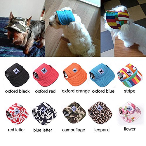 Dog Hat Pet Baseball Cap  Dogs Sport Hat   Visor Cap with Ear Holes and  Chin Strap for Small Dogs (Size S a67ce991a534