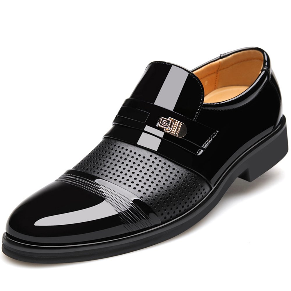 Seakee Men's Slip on Oxford Shoes Breathable Business Dress Shoes Black US 8.5