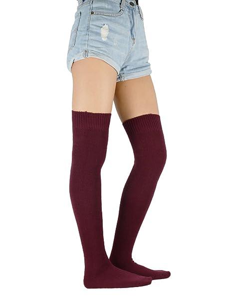 Zando - Calcetines hasta la rodilla - para mujer Rojo granate Talla única: Amazon.es: Ropa y accesorios