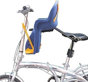 JHKGY Bicicleta Niños Niño Frente Asiento De Bebé Portabicicletas Asiento Desmontable Estándar, Altura Ajustable, con Medidas De Protección Cinturón De Seguridad,Blue: Amazon.es: Deportes y aire libre